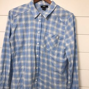 Paige blue plaid button down size Medium